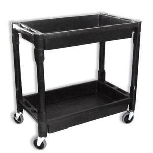 Heavy Duty Utility Cart Dolly | 2 Tray Storage Shelves Service Wagon 300 lbs