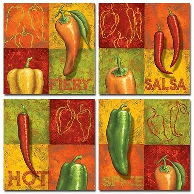 Set of 4 Hot Pepper Prints Spice Chili Cooking Kitchen by Delphine Corbin 8 x 8 on Rummage