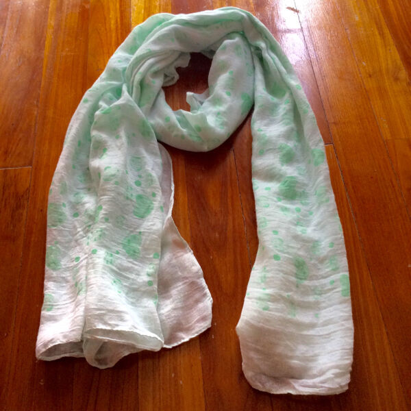 New Light Green Long Scarf Shawl With Heart Motifs