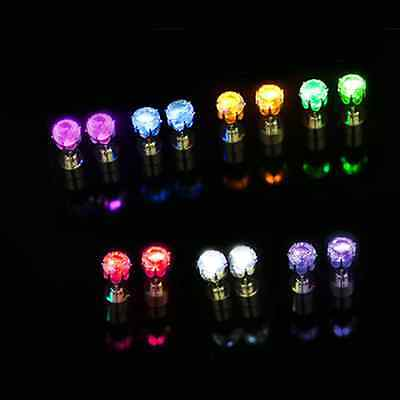 2PCS Flashing Light Up LED Earrings Ear Studs Halloween Dance Party Club Decor