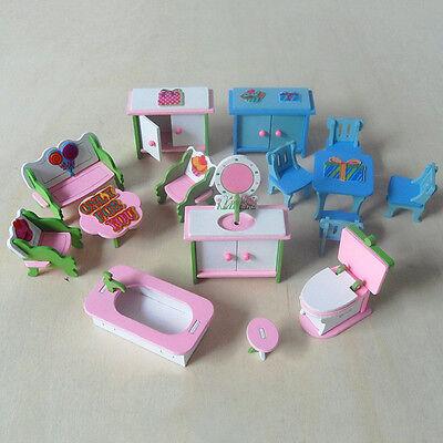 en bois miniature famille meubles maison poupées 6 chambre Ensemble pour enfants