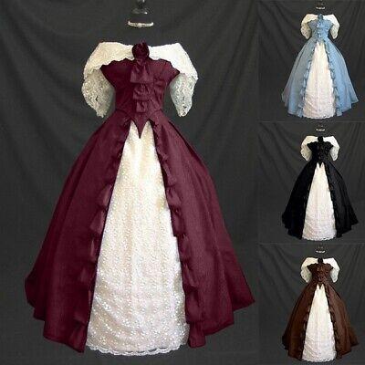 Women Vintage Gothic Medieval Maxi Dress Halloween Cosplay Retro Gown Dresses