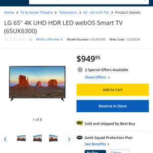 4K 65 inch LG Smart TV 1 day sale only