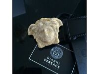 Crystal diamond 3D mens medusa head leather belt versace boxed very rare