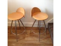 Kitchen wood and chrome stools