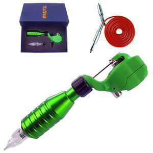 Green Pro Rotary Tattoo Machine Liner Shader Hawk Style Motor Gun With RCA Cord
