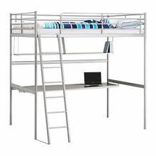 B36055 Grey Metal IKEA Single Bunk Bed with Desk Mount Barker Mount Barker Area Preview