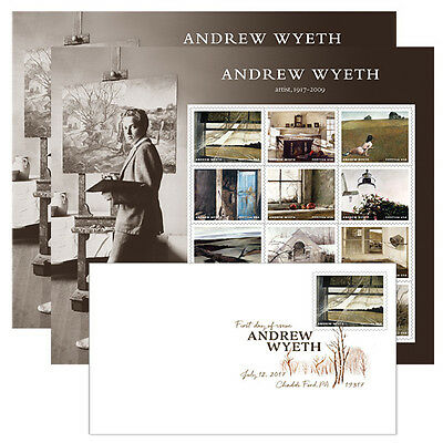 USPS New Andrew Wyeth Keepsake with random DCP and 2 panes of stamps