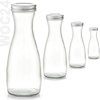 1 L Weinkaraffe Glaskaraffe Wasserkaraffe Glas Karaffe Milchflasche mit Deckel  ()