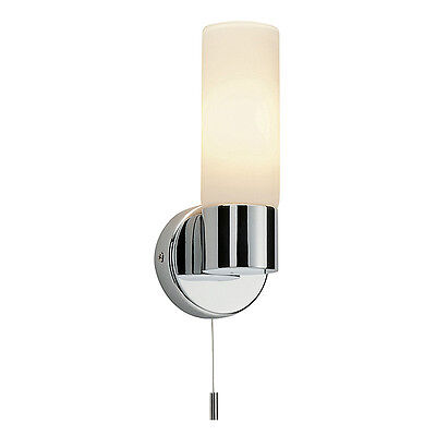 Chrome With Matt White Glass 40W IP44 Bathroom Wall Light With Pull Cord Switch