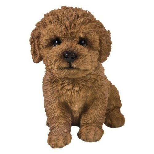 New PUPPY DOG Figurine Statue BICHON FRISE BROWN Sculpture Figure HOME DECOR