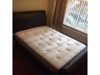 Choc Brown Harvey's King Size Full Leather Sleigh Bed & Mattress