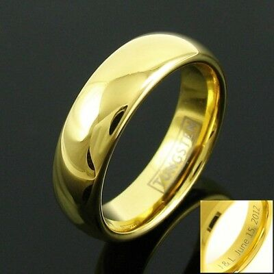 Engraved 6mm Tungsten Carbide Men's 14K Gold Plated Band Ring Size 5-14 TW