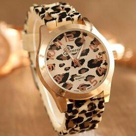 NEW Golden Brzel Geneva Leopard Silicone Fashion Watch