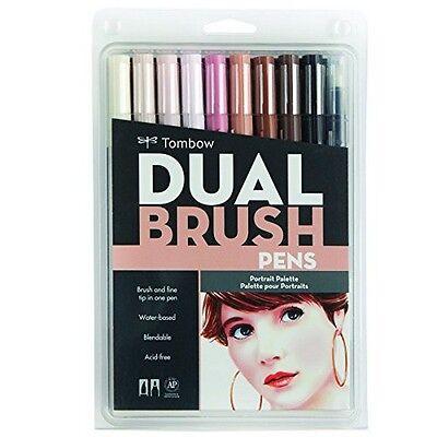 Tombow 56170 Dual Brush Pen Set Portrait 10Pk NEW
