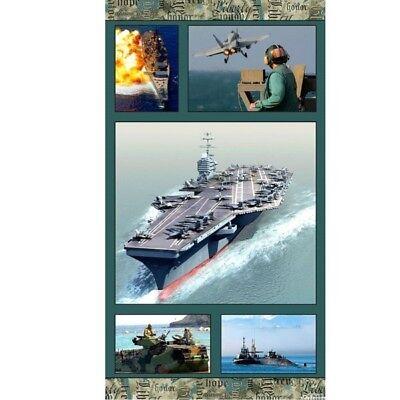 Navy Anchors Away (American Spirit Navy Anchors Away Military 24x44 Cotton Fabric)