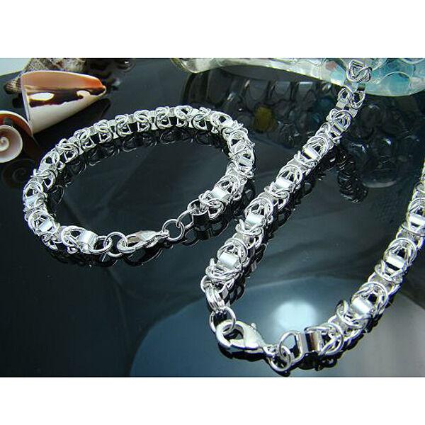Cool 925 Silver Dragon Head Men Women Chain Necklace Bracelet Set S029