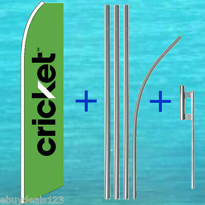 Cricket Green Flutter Flag 15 Tall Pole Mount Kit Feather Swooper Banner