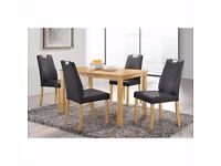 BRAND NEW WOODEN DINING TABLE WITH 4 CHAIRS WITH PU LEATHER