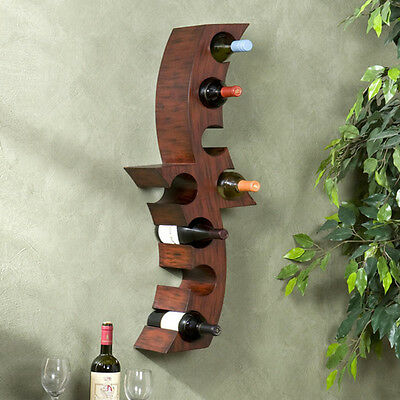 Wine Rack Wall Mount Holder Wood Bottle Display Bar Curved Decor Cabinet Storage for sale  Shipping to Canada