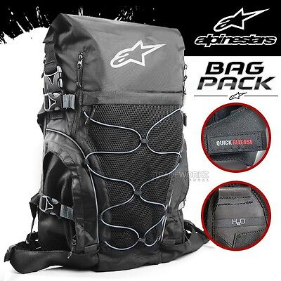 New ALPINESTARS 30L Black Motorcycle Bike Hiking Camping Travelling Backpack Bag