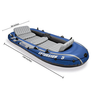 Intex Excursion 5 Person Inflatable Fishing Boat Set with 2 Oars, Air Pump and B