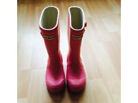 Hunter girl pink wellies size UK 0