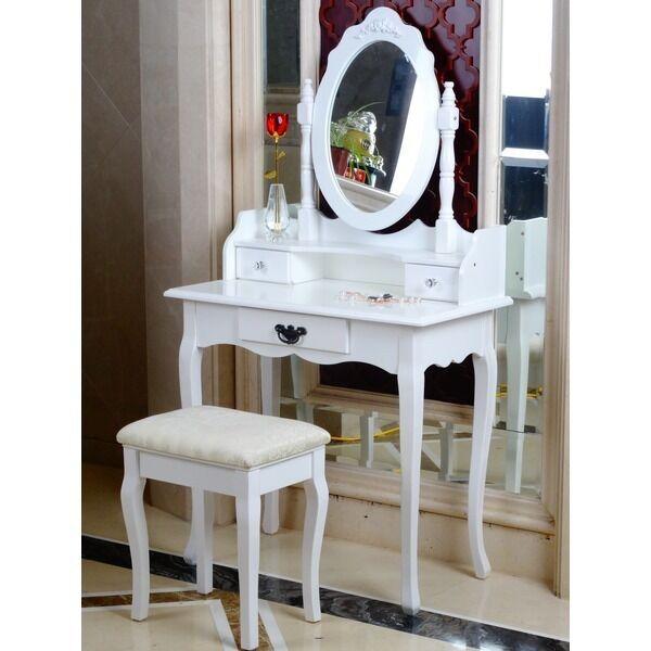 White Dressing Table Oval Mirror Stool Set 3 Drawer Bedroom Makeup Desk