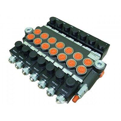 Hydraulic Bank Motor 7 Spool Bank Solenoid Control Valve 50 Lpm 12v