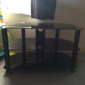 Glass two tier tv stand