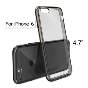 TPU Transparent Hard Case Cover Shell for 4.7 inch Apple iPhone 6 - Smoke Black