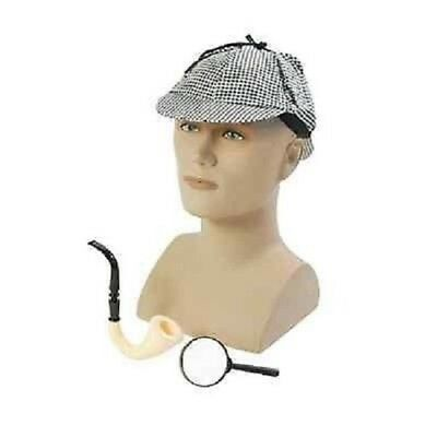 Sherlock Holmes Hat Pipe And Magnifying Glass Detective Kit Fancy Dress Disguise