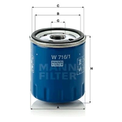 Mann W716/1 Oil Filter Spin On 89mm Height 76mm Outer Diameter Service