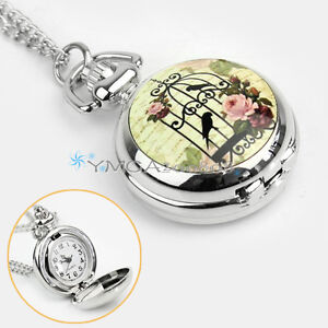Vintage Retro Birdcage Rose Necklace Pendant Chain Quartz Pocket Watch Xmas Gift
