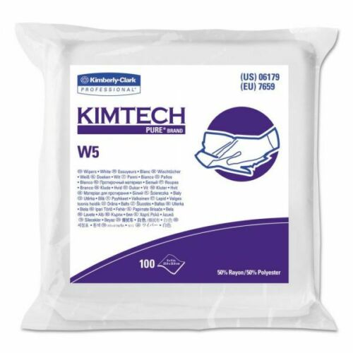 """Kimctech W5 Clean Room Dry Wipers, 9""""x9"""", White, ISO Class 5, 100/pk"""