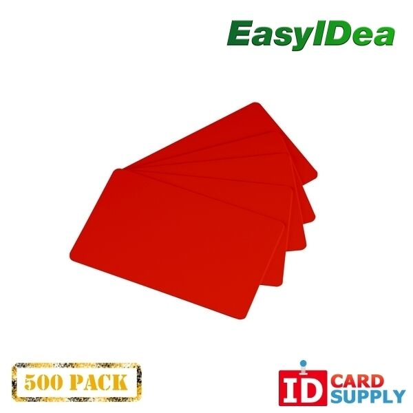 Pack of 500 Red CR80 Standard Size PVC Cards | 30 mil Thickness by easyIDea
