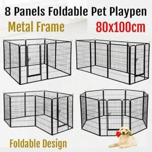 Pet Dog Playpen Puppy Exercise Fence Enclosure Cage 8 Panel 100cm