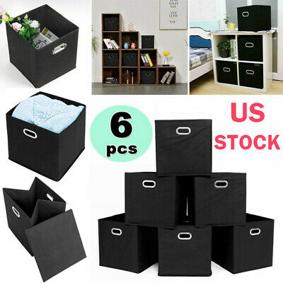6 Collapsible Foldable Cloth Fabric Cubby Cube Storage Bins Baskets for -