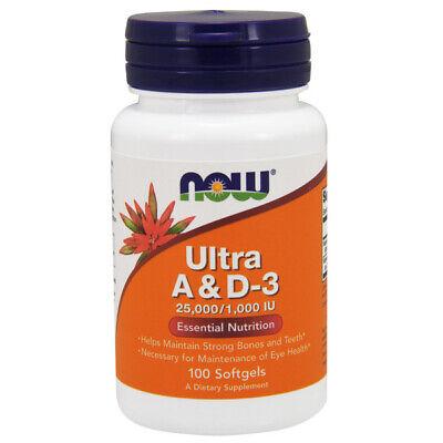 25000 Iu Vitamin (Vitamin A & D-3 (Ultra) 25000 / 1000iu, 100 Softgels - NOW Foods)