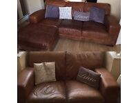 Leather corner and 2 seater,