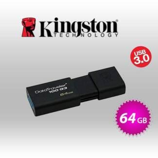kingston 64GB USB 3.0 FLASH DRIVE (KINDT100G3/64GB)