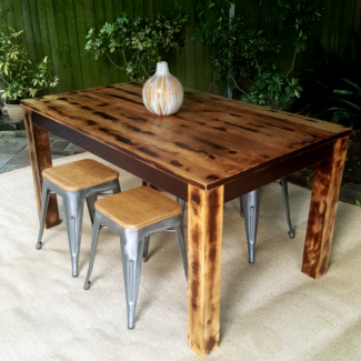 Distressed Mango Wood Dining Table & Four Tolix Replica Stools