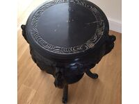 Antique Black Jacobean style carved table .