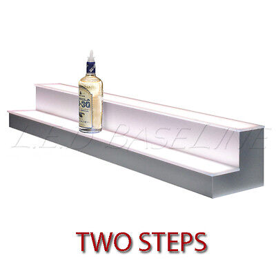 80 2 Tier Led Lighted Liquor Display Shelf - Stainless Steel Finish