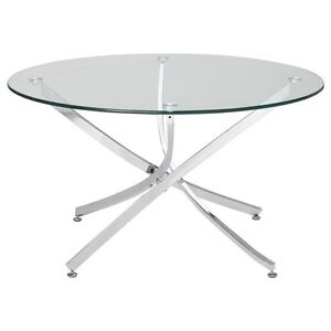 Glass and chrome round coffee table
