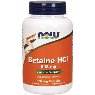 NOW Foods BETAINE HCL 648mg Pepsin 120 Cap Hydrochloride HCI Digestive Enzyme