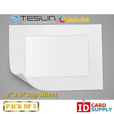 Teslin Synthetic Paper - 4 X 6 Perforated 1-up Inkjet Sheet Pack Of 5