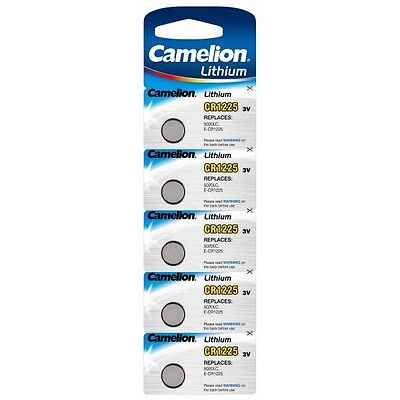 Blister 5 batteries button Camelion lithium CR1225/5020LC/E-CR1220 3V