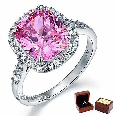 6 Ct Pink Cushion Diamond Halo 925 Sterling Silver Wedding Engagement Ring