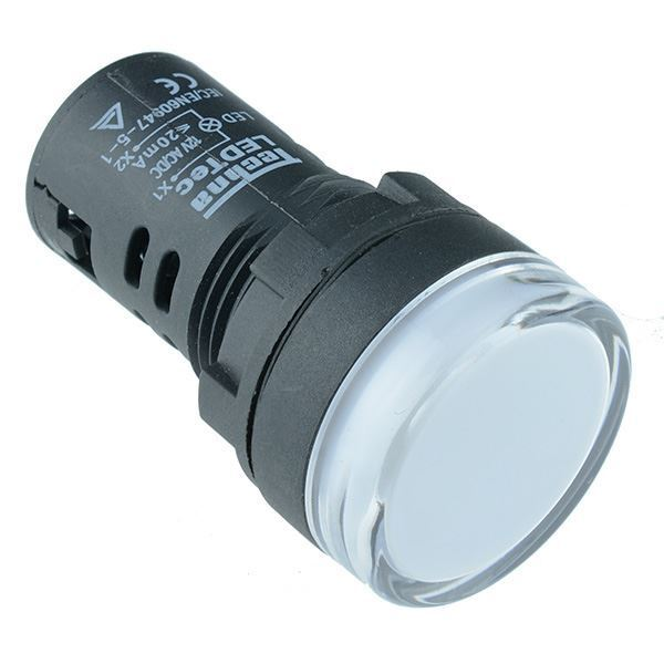 White 22mm LED Pilot Panel Indicator Light 12V High Quality Techna